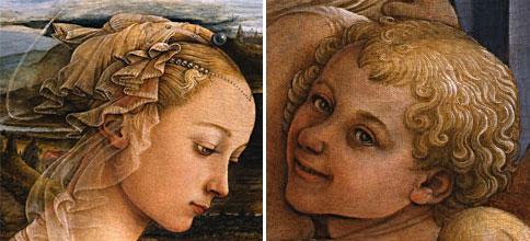 Detail of Lippi's Madonna and of one of the angels