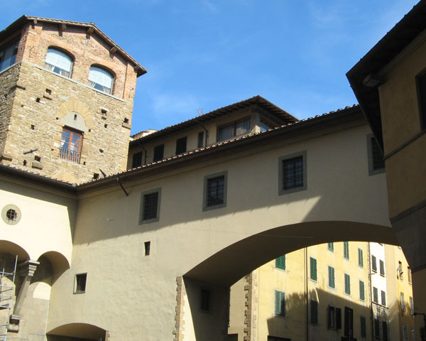 View of a section of the Vasari Corridor after Ponte Vecchio