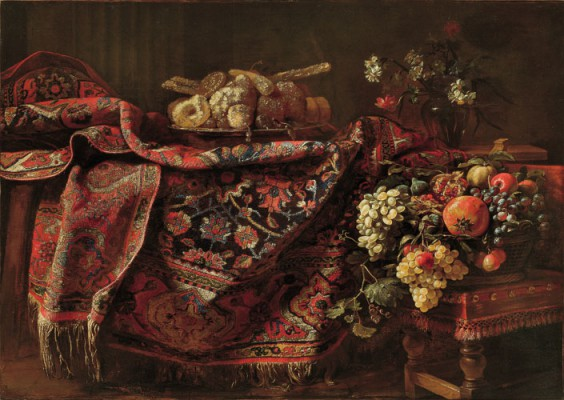 Francesco Noletti, known as Il Maltese Still-life with Carpet, Candied Fruit, Flowers and a Basket of Fruit - c. 1650 oil on canvas