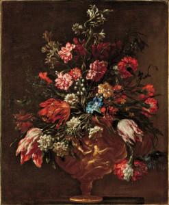Mario Nuzzi, known as Mario dei Fiori - Bunch of Flowers in a Historiated Vase c. 1650–60, oil on canvas
